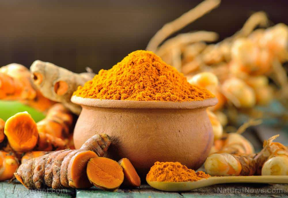Turmeric powder in a jar