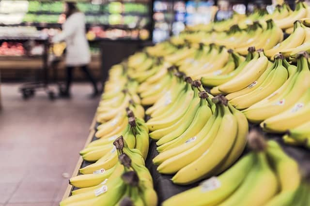 bananas in a supermarket