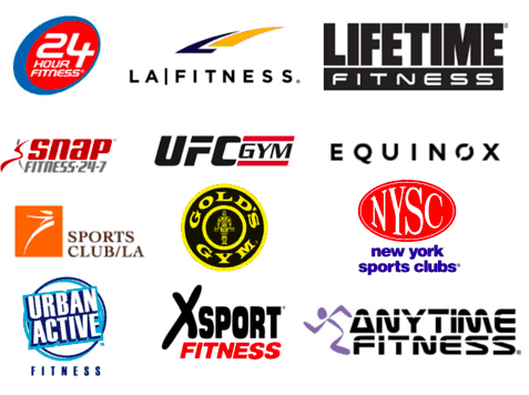 Logos of different gyms and fitness centers
