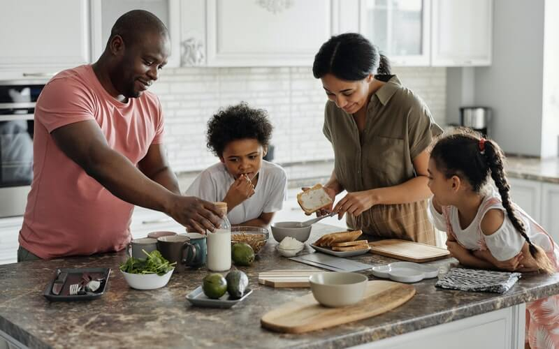 image of a family having breakfast