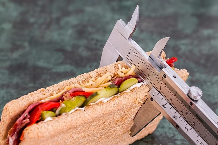 sandwich gets its dimensions measured by a ruler