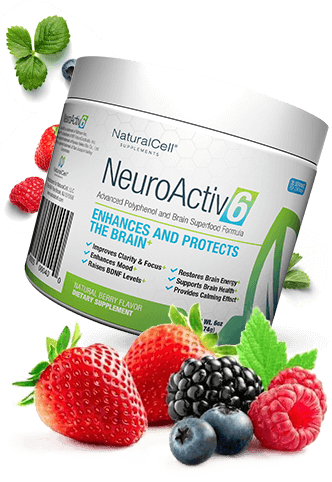 neuroactiv6 product with fruits around it.