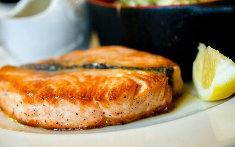 a dish with salmon