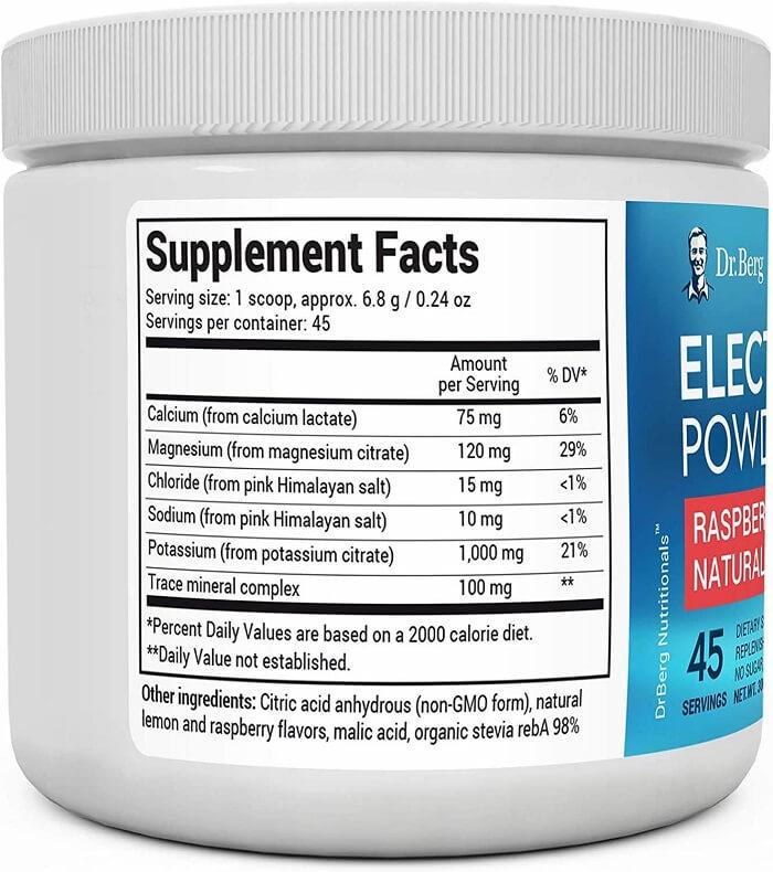 Dr Berg Electrolytes Ingredient Lists
